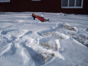 Making snow angels - winter in Minnesota