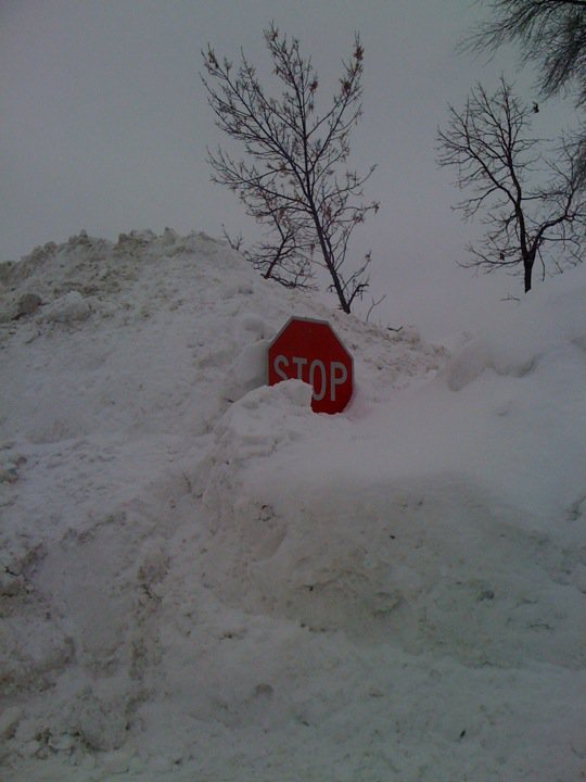 Stop sign covered in snow - Winter in Minnesota