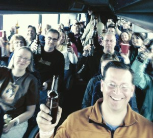People on a bus - GetKnit Events, North Shore Brewery Tour