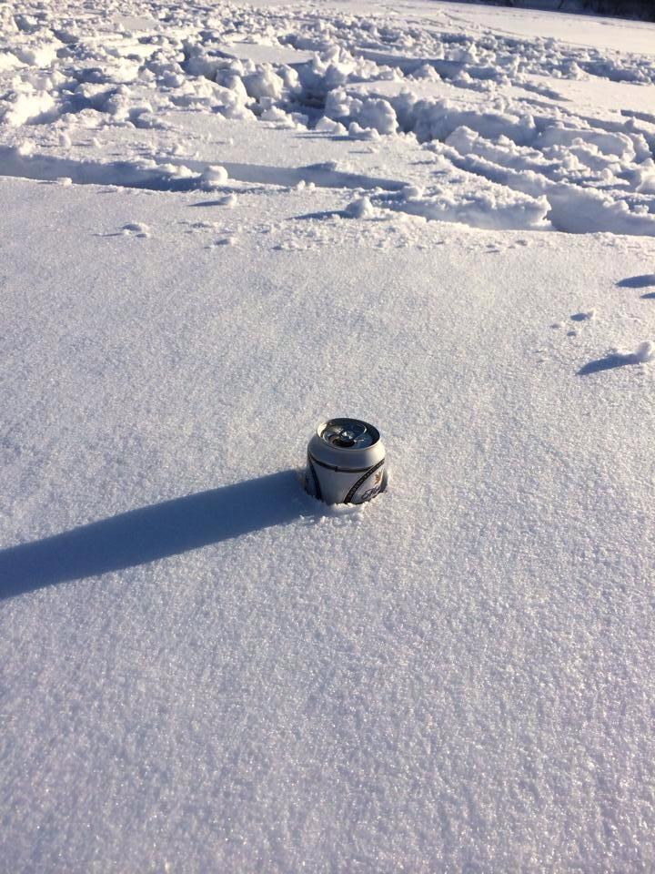 Keeping beer cold in the snow - Winter in Minnesota