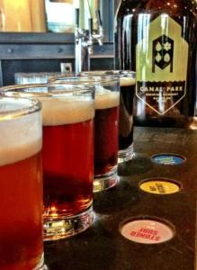 Canal Park Brewery flight GetKnit Events Duluth Brewery Tour