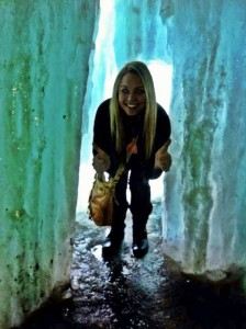 GetKnit Events Guru - Suzie, Behind a frozen waterfall in Minnesota