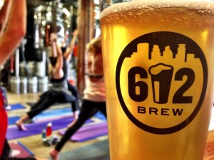 yoga 612 pint glass getknit events yoga at the brewery