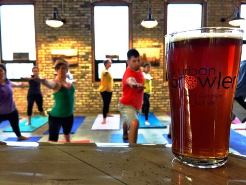 GetKnit Doing Yoga At Urban Growler Brewery in St. Paul