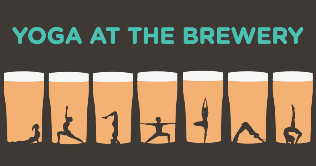Yoga class in a brewery