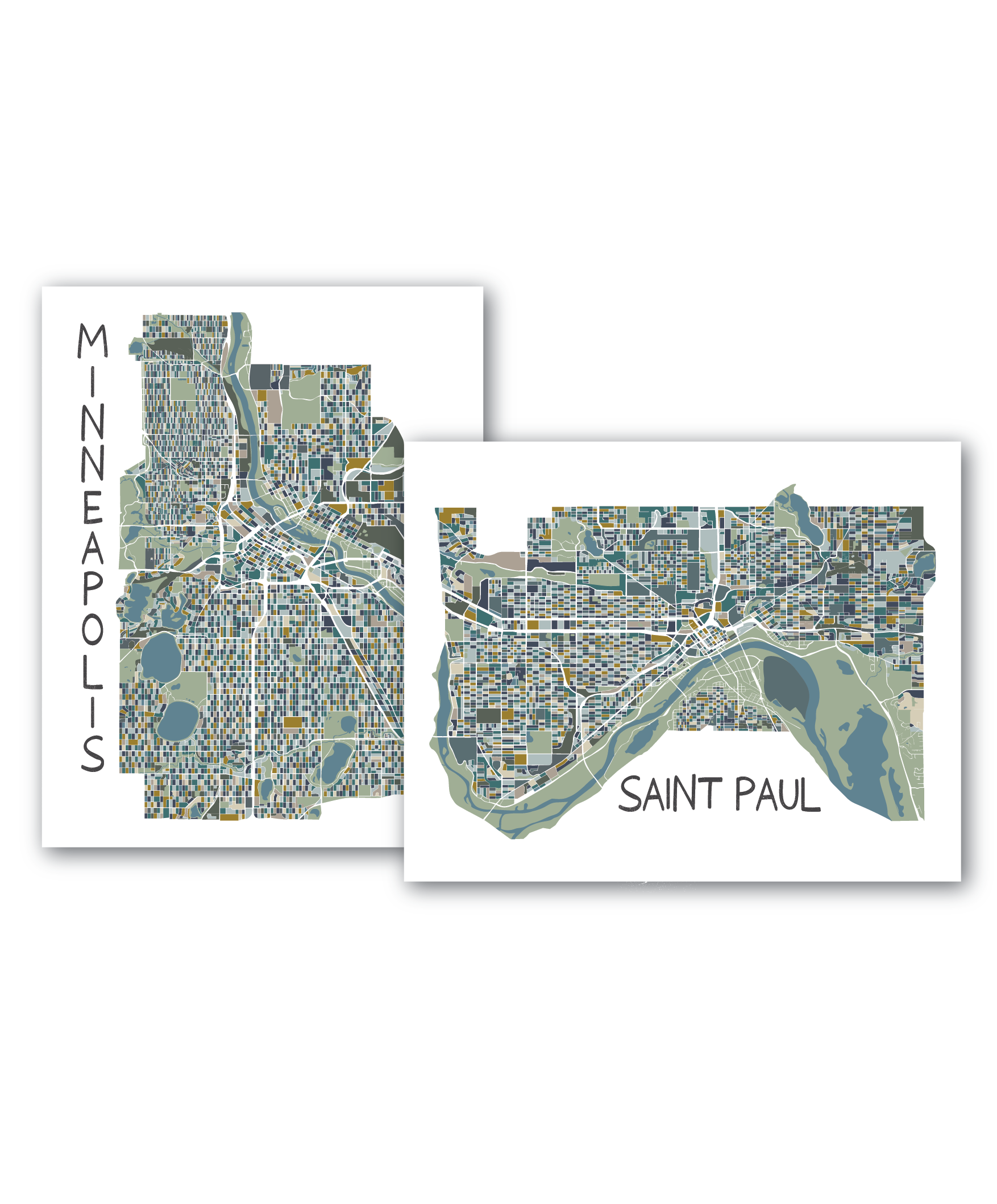 Combo Set - Minneapolis and St. Paul Map Prints